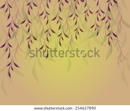 Autumn background with hanging plants and shadows. EPS10 vector illustration. - stock vector