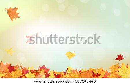 Autumn  Frame With Falling  Maple Leaves on Sky Background. Elegant Design with Rays of Sun. Vector Illustration. - stock vector