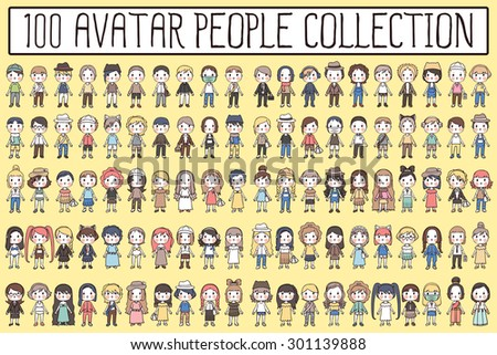 100 avatar people cute cartoon collection. - stock vector