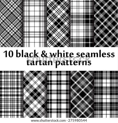 10 b&w seamless tartan patterns - stock vector
