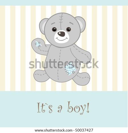 Baby boy arrival announcement card. Vector illustration. - stock vector