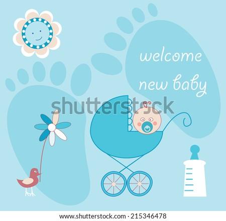 Baby boy card - stock vector