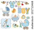 baby boy shower elements set isolated on white background - stock vector