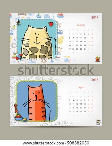 2017 Baby Calendar Template Stock Vector 508382050 Shutterstock