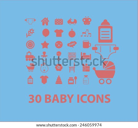 30 baby, children, toys icons, signs, illustrations set, vector - stock vector