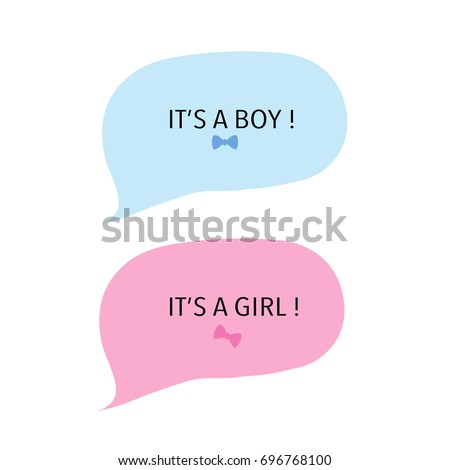 Baby Girl And Baby Boy. Speech Balloon Pink And Blue. Baby Shower Greeting  Card