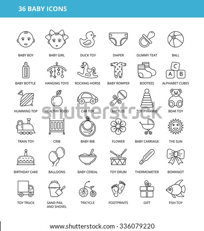 36 BABY ICONS - stock vector