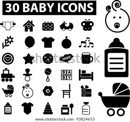 30 baby icons set, vector illustrations - stock vector