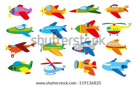 16 baby's airplanes set - stock vector
