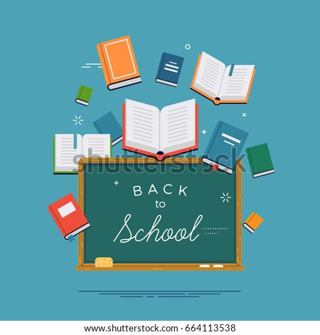 'Back to School' concept vector background featuring green chalkboard and various books. Ideal for educational and school themed banners, posters and cards