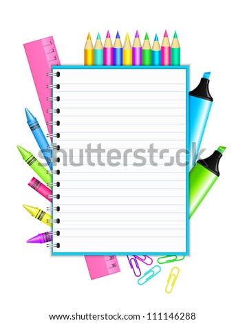 """Back to school "" - vector frame with colorful stationery - stock vector"