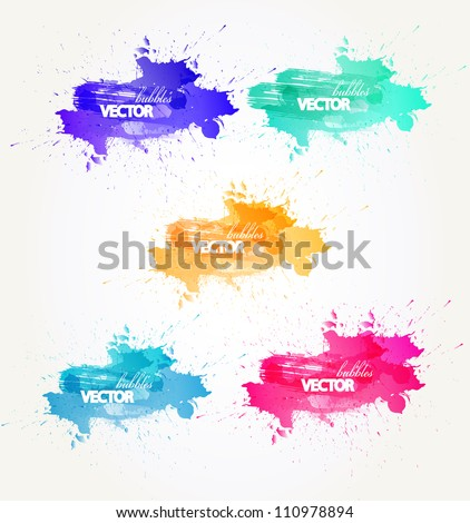 Background of abstract talking bubble with colorful  blots - stock vector