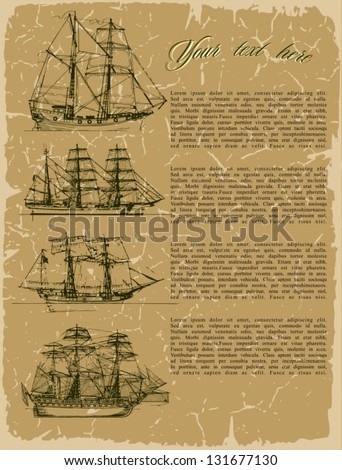 Background old ships on vintage old paper. Plus three objects  cracked surface. Grunge effects can be removed. - stock vector