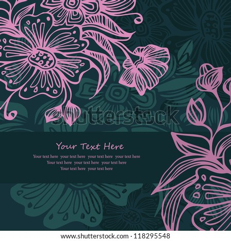 Background pattern with flowers and place for your text - stock vector