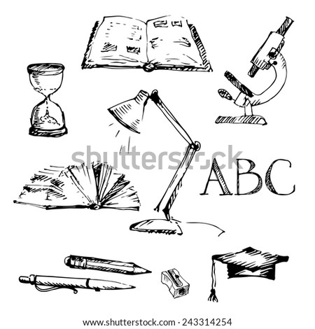 Background with education icons set. Sketch. Vector illustration. - stock vector