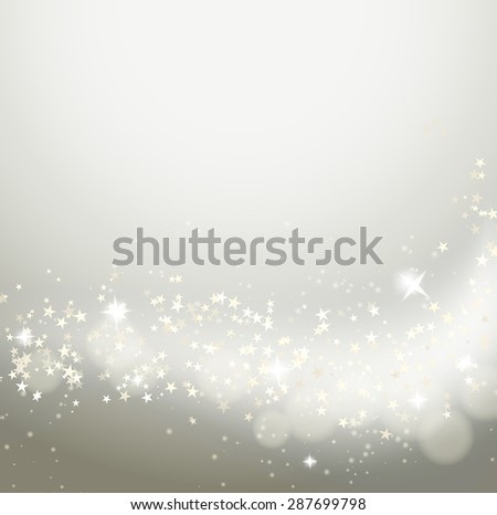 background with stars flying with glittering and bokeh effect - stock vector