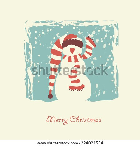background with the image of funny snowman - stock vector