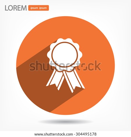 badge with ribbons icon. Vector  Eps 10