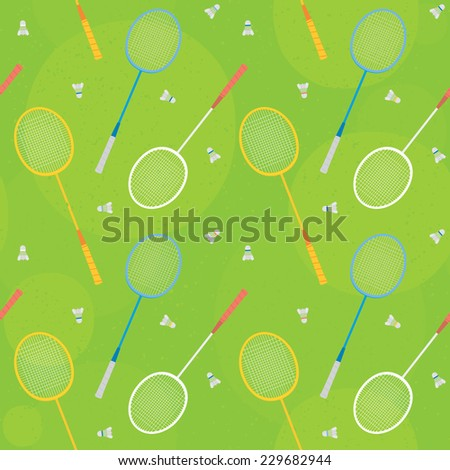 """Badminton"" seamless vector pattern (green) - stock vector"