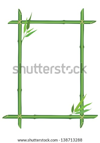 bamboo frame with leaves decor. vector illustration isolated on white background - stock vector
