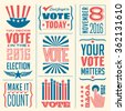 banner collection to encourage voting in 2016 elections - stock vector