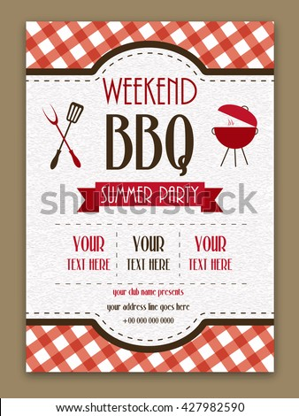 Barbecue Template or Menu design with space for your text. - stock vector