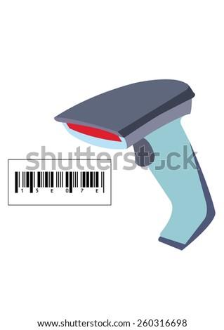 Barcode scanner on white Background. Vector Illustration - stock vector