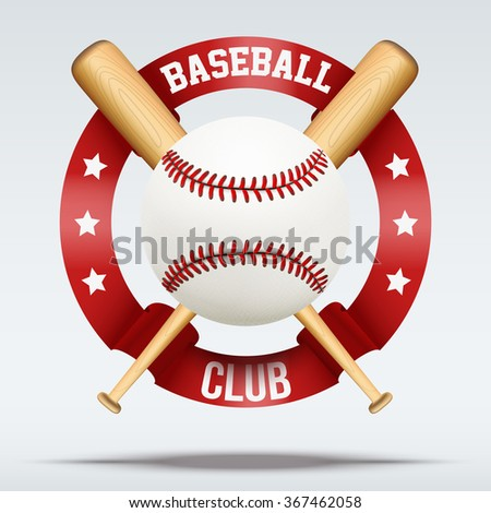 Baseball ball and wooden bats with ribbons. Sporting Symbol. Vector Illustration Isolated on white background. - stock vector