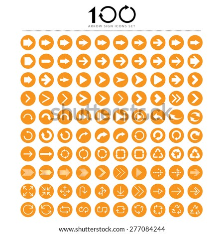 100 Basic arrow sign icons set.Illustrator eps10 - stock vector