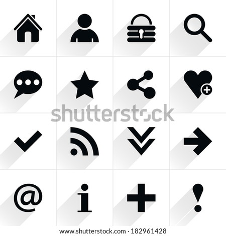 16 basic sign flat icon with gray long shadow (set 05). Black sign on white background. Tidy, clean, simple, minimal, solid, plain style. Vector illustration web internet design element save in 8 eps - stock vector