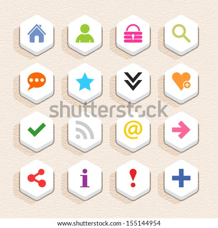 16 basic sign icon set 05 (color on white). Hexagon button web internet shape with shadow on beige paper background with plastic texture. Simple flat style. Vector illustration design element 10 eps - stock vector