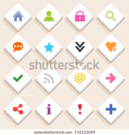 16 basic sign icon set 05 (color on white). Rhombus web internet button with long shadow on beige paper background with plastic texture. Simple flat style. Vector illustration design element in 10 eps - stock vector