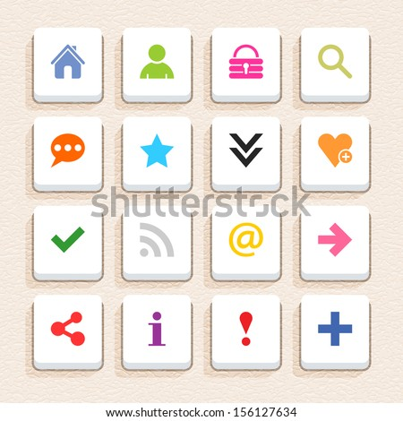 16 basic sign icon set 05 (color on white). Square web internet button with long shadow on beige paper background with plastic texture. Simple flat style. Vector illustration design element in 10 eps - stock vector