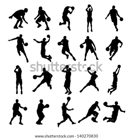 20 Basketball Black Silhouette Vector Illustration - stock vector