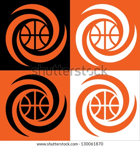 Basketball cyclone  / Vector image for sports design in four various coloring. - stock vector