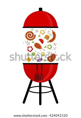 BBQ Grill Party card. Template for barbecue party poster and invitation. Cartoon flat vector illustration. Objects isolated on a background.