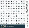 100 beach icon on white background  - stock vector
