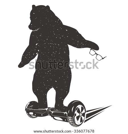 Bear on Two-wheeled Self-balancing electric scooter. Bear Symbol Can be used for T-shirts print, labels, badges, stickers and logotypes. Vector illustrations  - stock vector