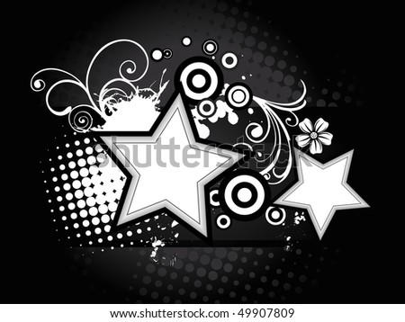 Beautiful  artistic abstract star vector floral with grunge background.