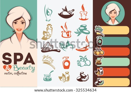 beautiful cartoon woman and natural spa icons, emblems and backgrounds collection - stock vector