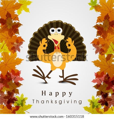 Beautiful, colorful cartoon of turkey bird for Happy Thanksgiving celebration on maple leaves background, can be use as flyer, poster or banner.  - stock vector