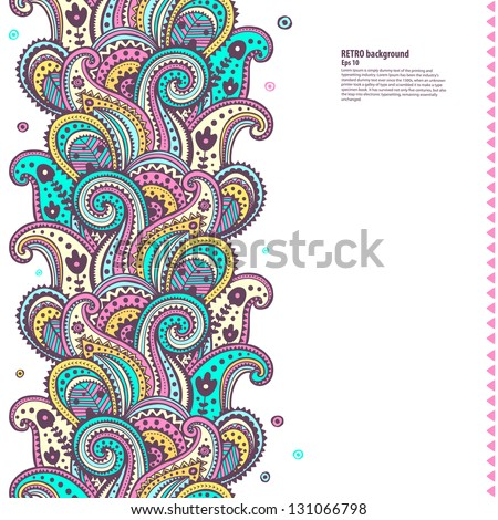 Beautiful ethnic paisley ornament - stock vector