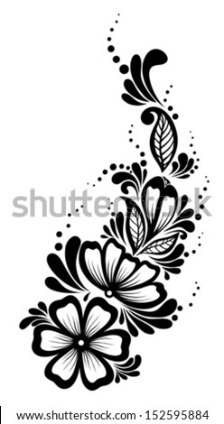 Beautiful floral element. Black-and-white flowers and leaves design element. Floral design element in retro style. Many similarities to the author's profile - stock vector