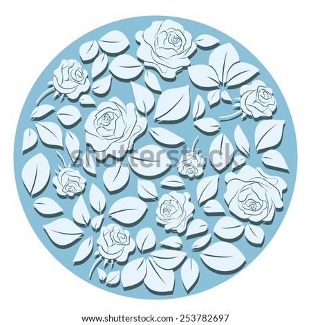 Beautiful floral pattern with roses and leaves.Vector round background 7
