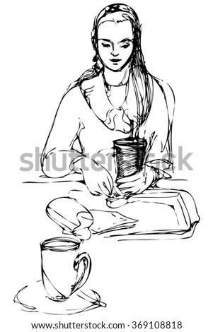beautiful girl drinking at a table in a cafe - stock vector