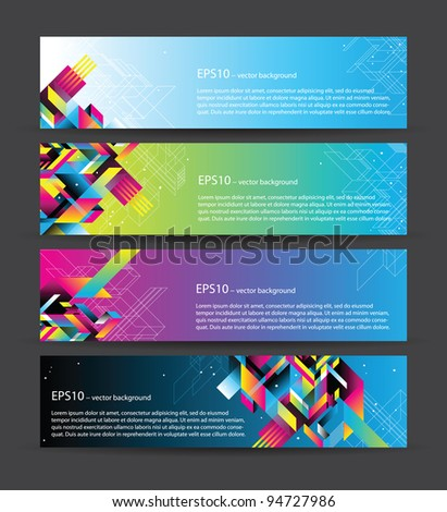 4 beautiful horizontal web banners - stock vector