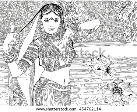 Beautiful Indian Woman On Jungle Background India Coloring Pages