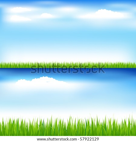 2 Beautiful Landscapes With Green Grass And Blue Sky With Clouds - stock vector