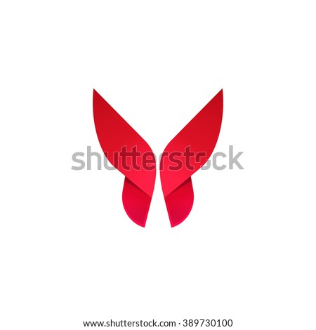 Beautiful modern butterfly vector icon design for business card, brand identity isolated on white - stock vector