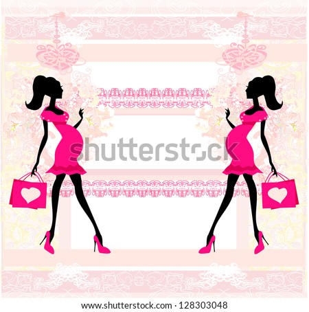 Beautiful pregnant woman on shopping - card - stock vector
